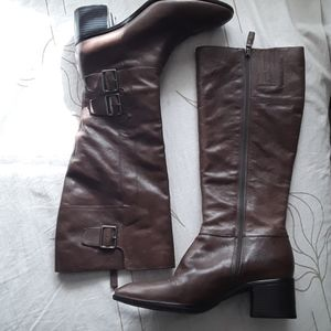 Franco Sarto brown long boot 3 buckle zipper